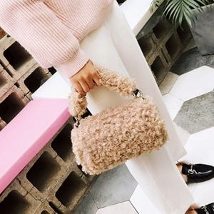 Tote Handbag Faux Woolly Fur Beige Luxury
